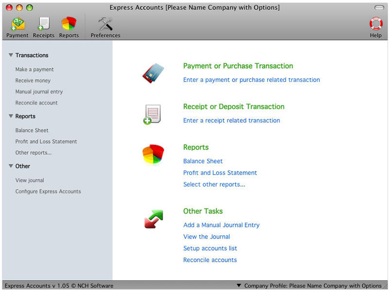 Express Accounts Plus Edition for Mac full screenshot