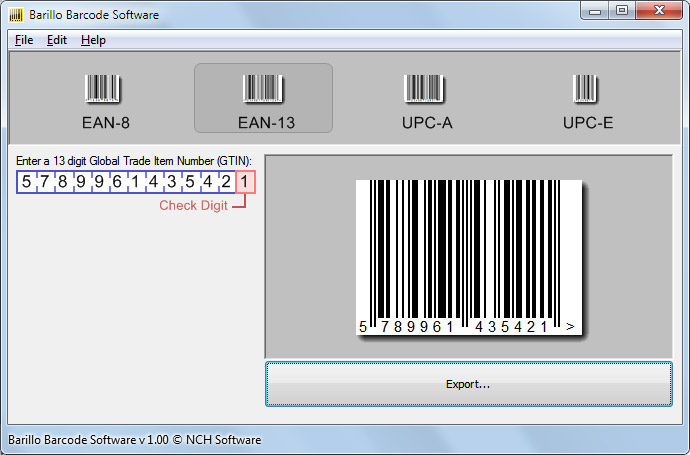 Windows 7 Barillo Barcode Software 1.01 full