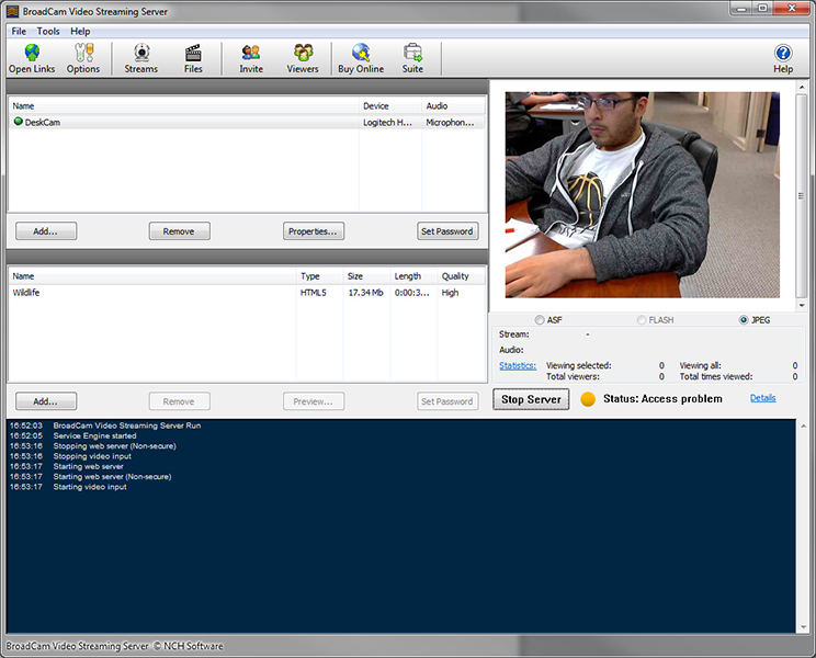 Click to view BroadCam Streaming Video Server screenshots
