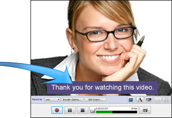 Add captions and text to streaming video capture software