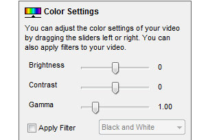 Add color effects to video as you record