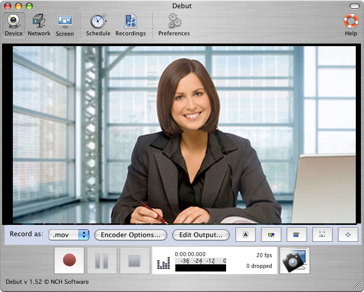 Screenshot of Debut Free Screen Recorder and Capture Software for Mac 4.01