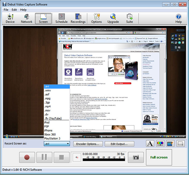 Debut is a professional screen capture software. Record videos from your screen or take screenshots. With Debut you can capture your entire desktop or a selected portion. Save the image or recorded video as avi, flv, wmv and other video file formats.