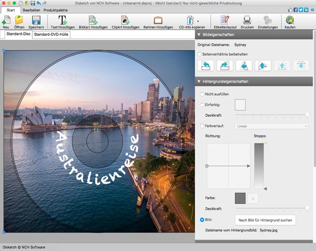 Disketch Disc-Beschriftungssoftware Mac