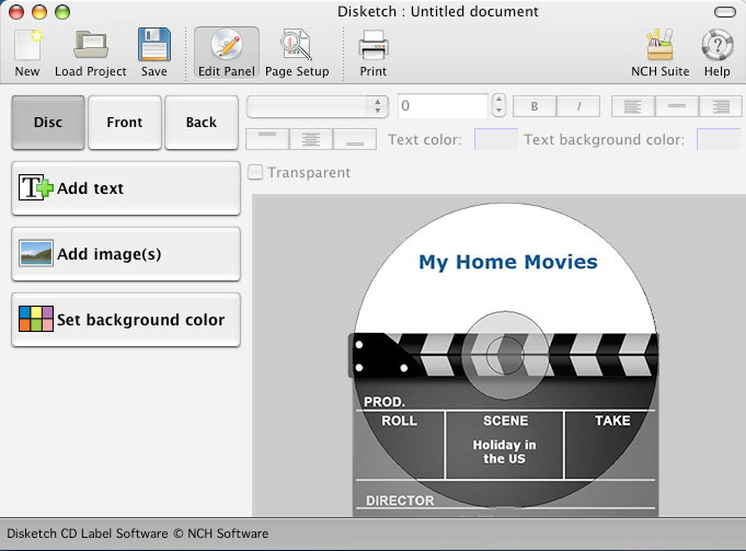Disketch CD and DVD disc labeling software for Mac.