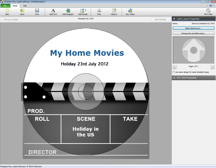 Quickly and easily create CD and DVD labels with Disketch Plus Edition.