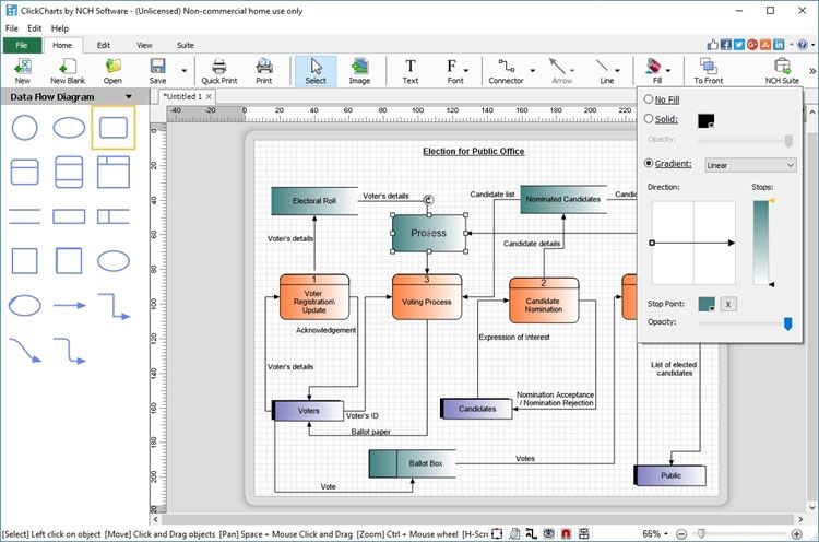 ClickCharts Flowchart Pro and diagram software lets you lay out your ideas, organization, process or create UML diagrams. Create data flow or value stream diagrams and find process optimization by identifying bottlenecks. Export to jpg, gif, png.