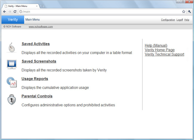 Verity Parental Control Software full screenshot