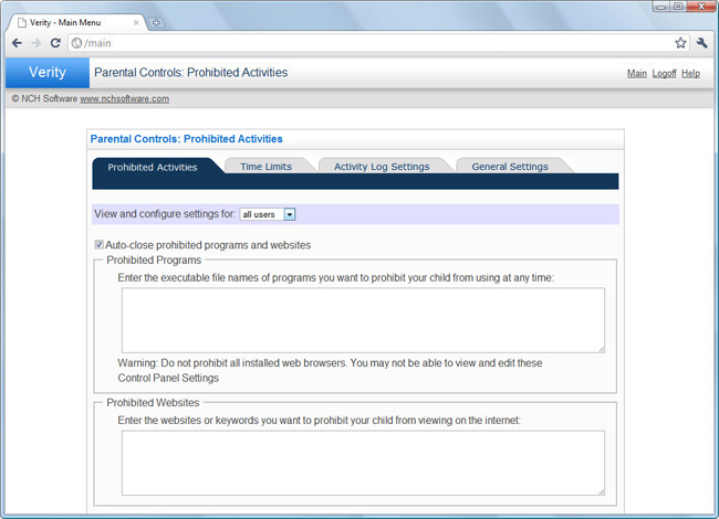 Verity Parental Control Software Screenshot