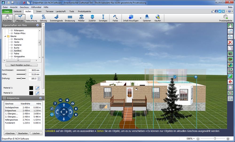 DreamPlan Hausplaner. In 3D Wohneinrichtung und Garten planen