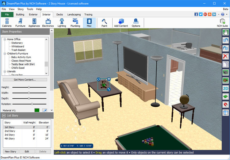 Dreamplan home design landscape planning software for Furniture layout software