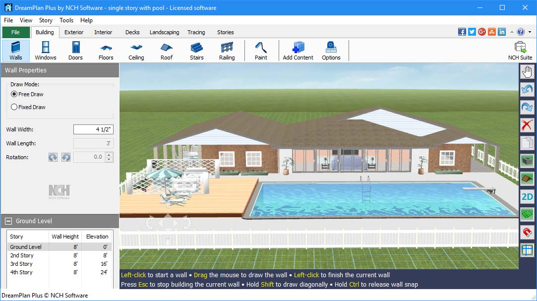 Dreamplan home design landscape planning software for Home garden design program
