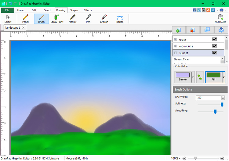 Drawpad Graphic Editing Software Screenshots