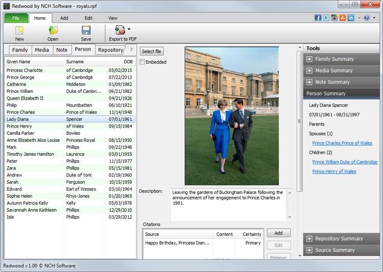 redwood family tree software screenshots