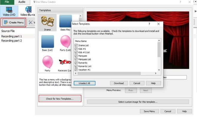 Image displaying how to select a DVD menu template