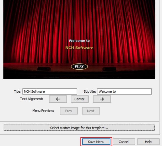 Image displaying how to create a DVD menu