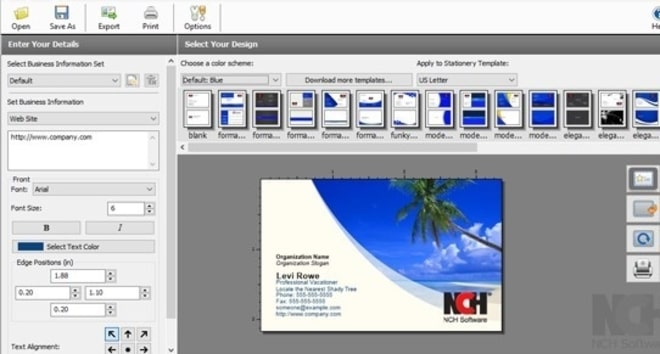 Image displaying how to add business card details