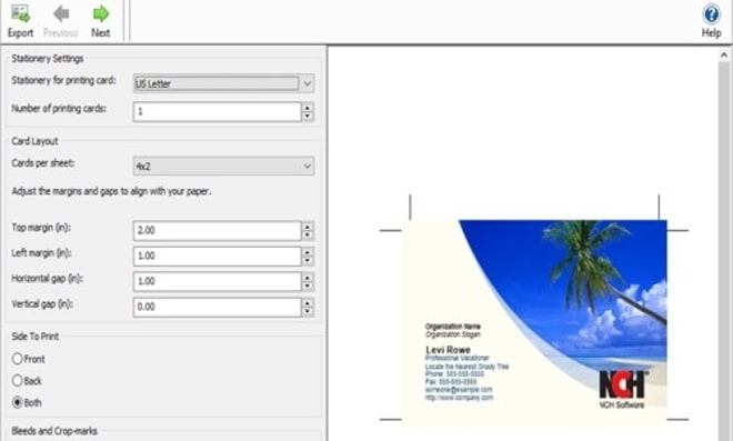 Image displaying how to export business card design