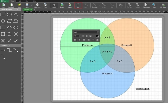 Image displaying how to add text to Venn diagram