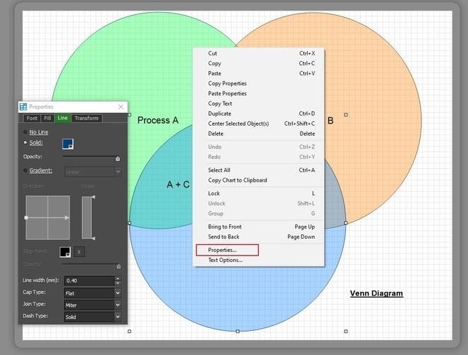 Image displaying how to edit the venn diagram design properties