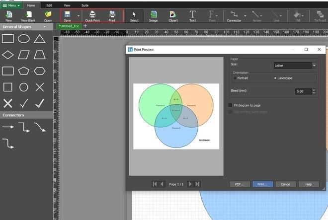 Image displaying how to print Venn diagram