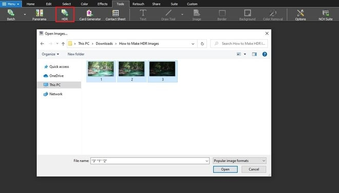 Image displaying how to create an HDR image