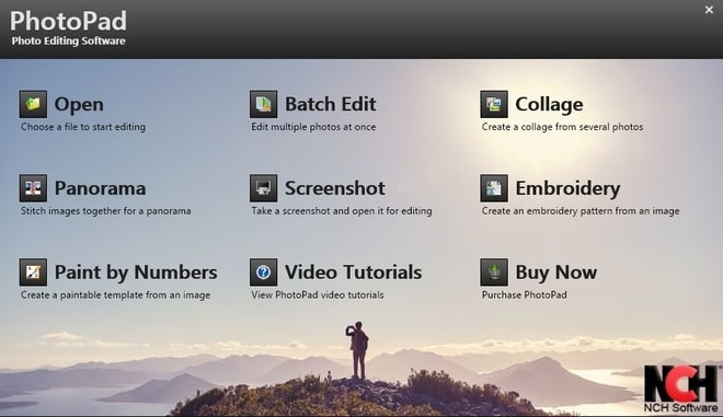 Image displaying how to select collage editor in PhotoPad Photo Editor