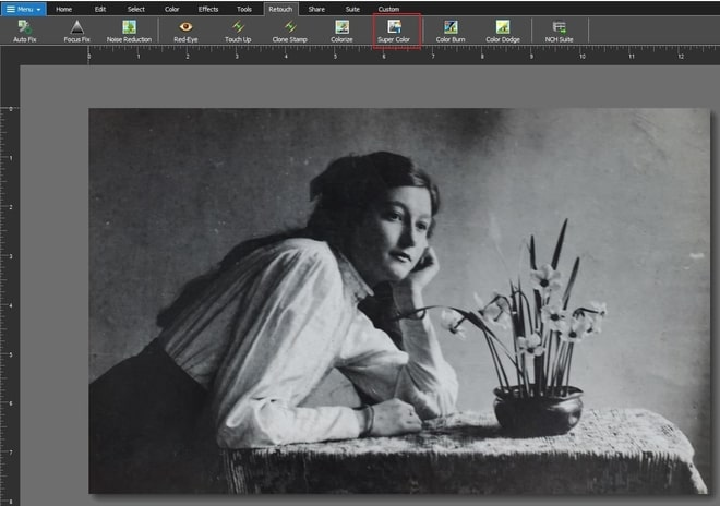 Image displaying how to add color to black and white photo
