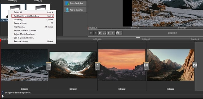 Image displaying how to add audio to a slideshow