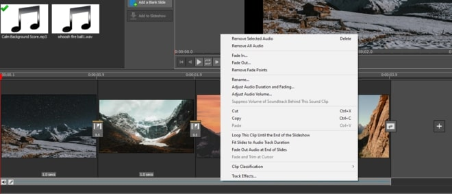 Image displaying how to adjust audio clips in slideshow