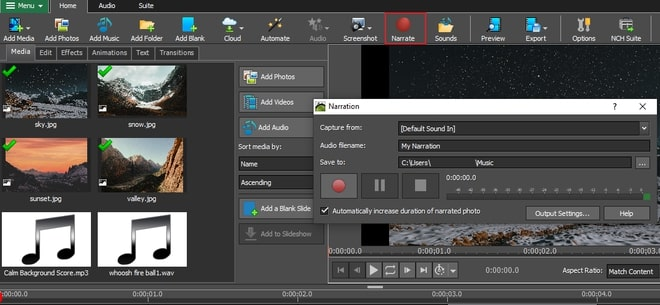 Image displaying how to record and import narration to slideshow