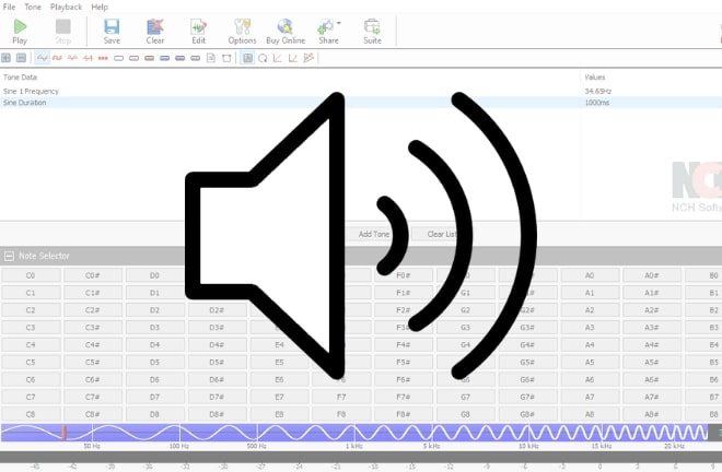 Image displaying how to use the grey noise generator application software