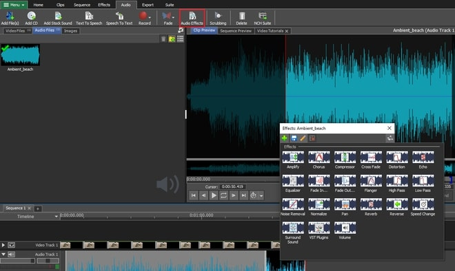 Image displaying how to add audio effects to video