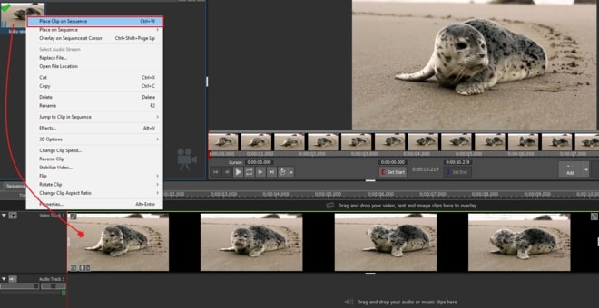 Image displaying how to add video to VideoPad timeline