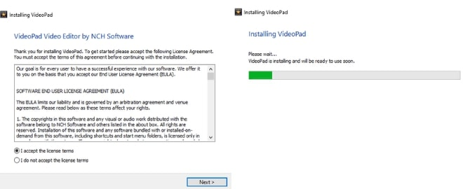 Image displaying how to download and install VideoPad Video Editor