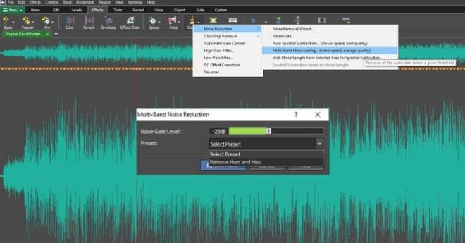 Image displaying how to reduce background noise using Multiband Noise Gating