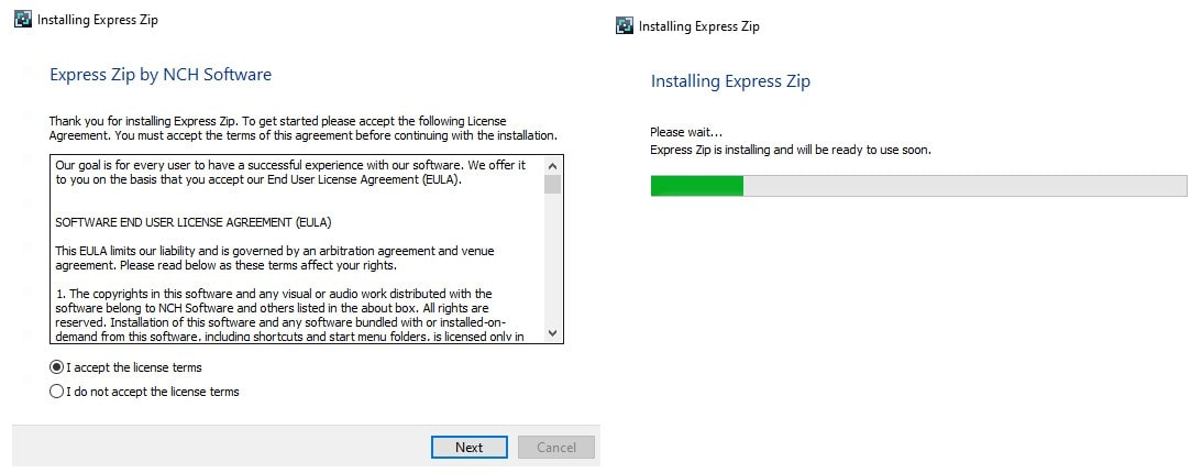 Image displaying how to download Express Zip File Compression Software