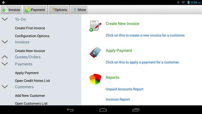 Easy invoicing software to manage and track your billing on Android device.