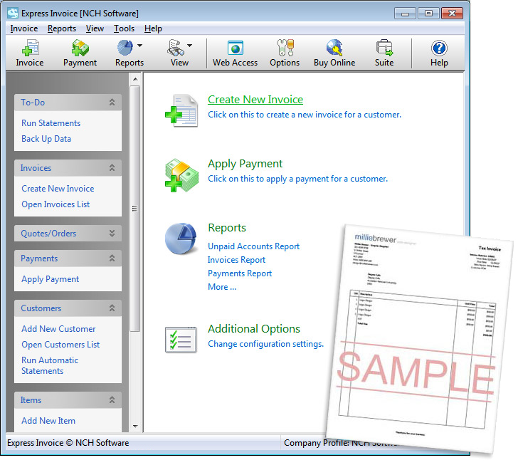 Click to view Express Invoice Plus 3.49 screenshot