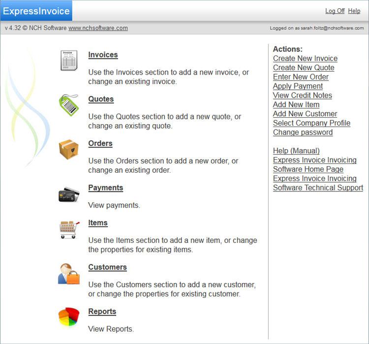 Main Web Console  Web Invoice