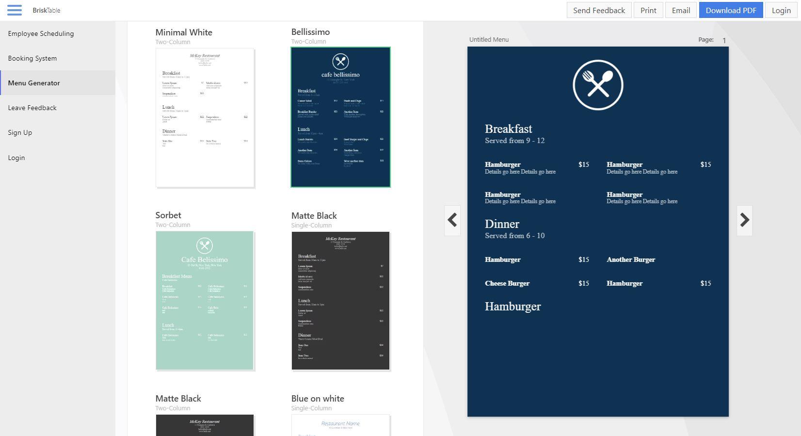 Express Menu Restaurant Maker Software Screenshot