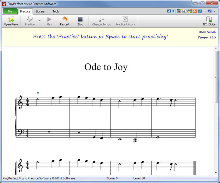 PlayPerfect Music Practice Software full screenshot