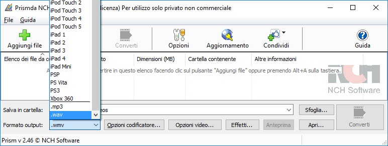 Prism Convertitore di file Video converte formati file video multipli.