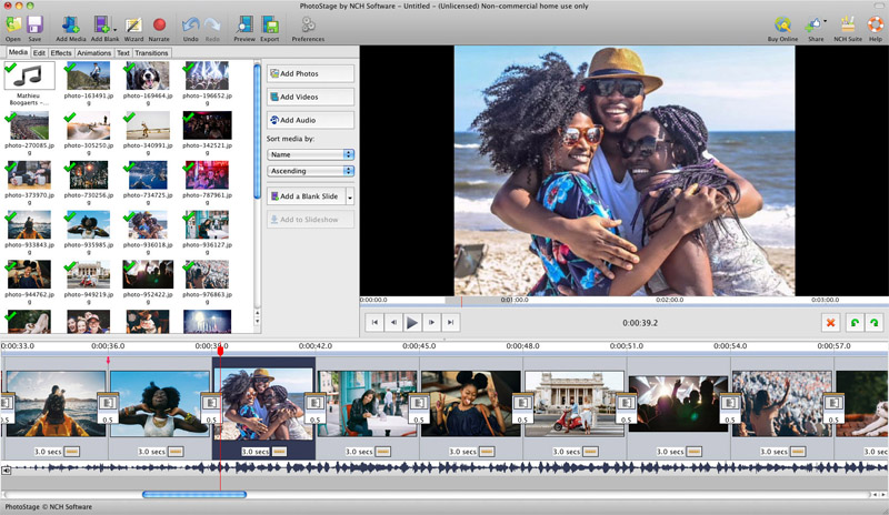 PhotoStage Pro Edition makes slideshows from photos, videos and music on Mac.