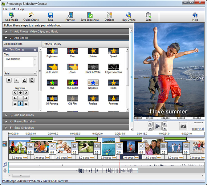 PhotoStage Free Slideshow Software lets you create a slideshow from your digital photos and videos on Windows and apply effects such as fade, crossfade, zoom and much more. Burn your slideshow to DVD for playback on TV.