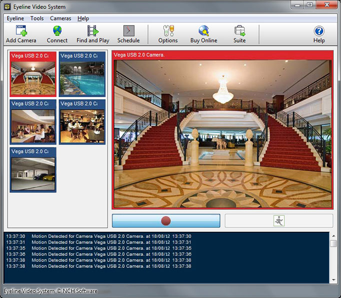 Professional digital video surveillance software - single or multiple cameras.
