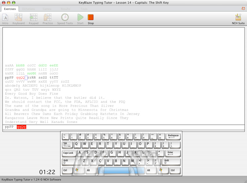 KeyBlaze Typing Tutor For Mac Screenshot