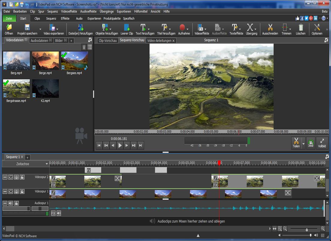 VideoPad Video-Editor kostenlos