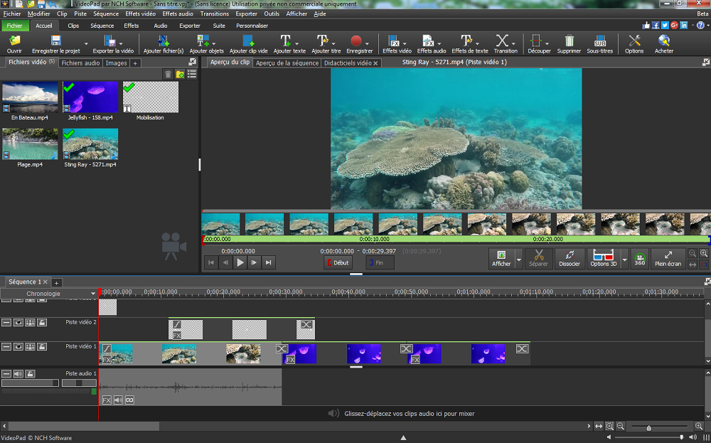 Videopad logiciel de montage vid o captures d 39 crans for Ecran montage video
