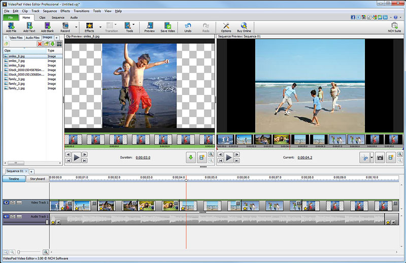Click to view VideoPad Video Editing Software 5.11 screenshot